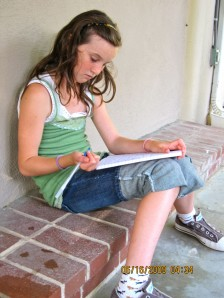 girl writer at camp